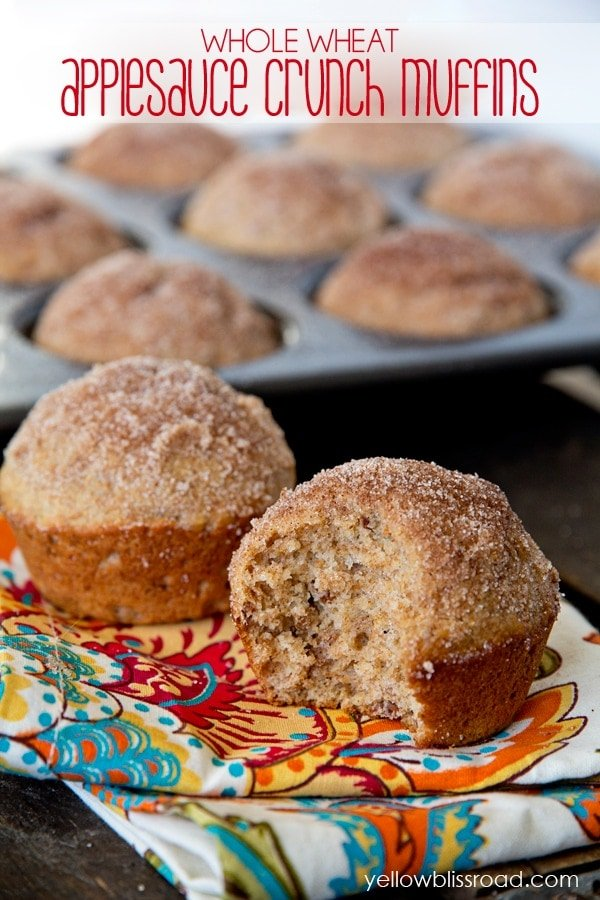 Whole Wheat Applesauce Crunch Muffins