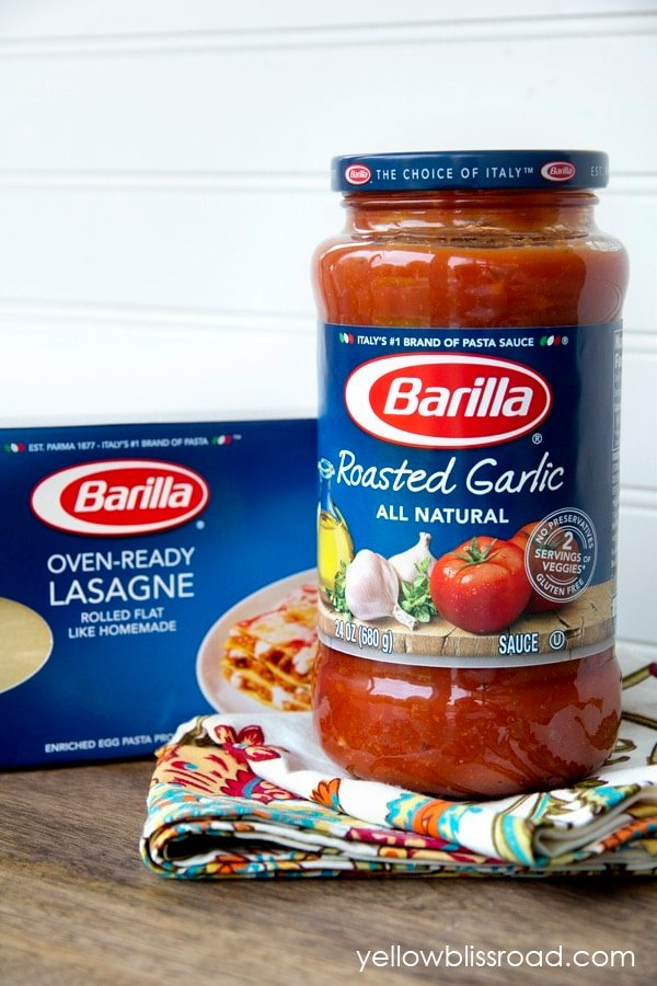 Barilla lasagna and sauce