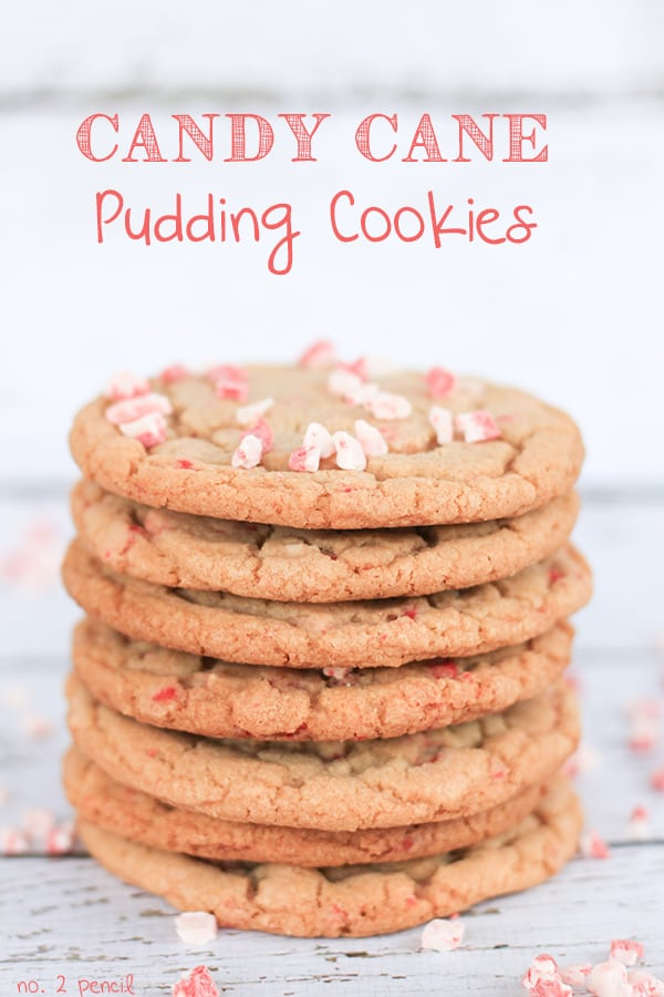 Stack of candy cane pudding cookies