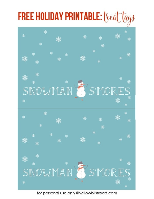 Free Printable Snowman S'Mores Gift Tag