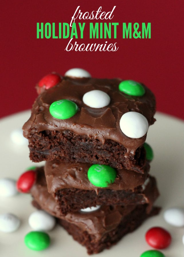 A close up of Frosted Holiday Mint M&M Brownies
