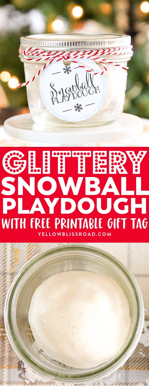 Glittery Homemade Snowball Playdough recipe collage.