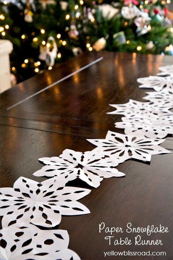 Easy to Make Paper Snowflake Table Runner, and a Snowflake Cutting Video Tutorial!