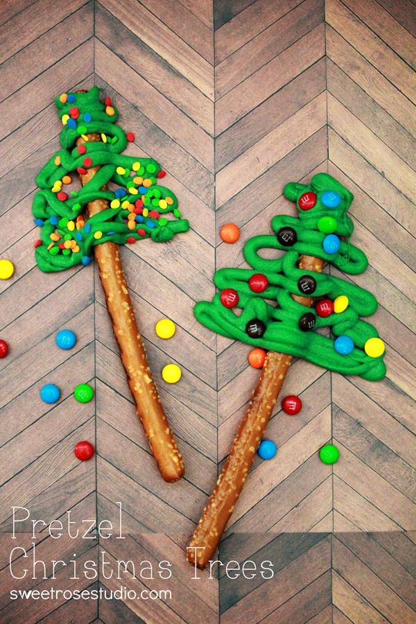 Pretzel Christmas trees on a table