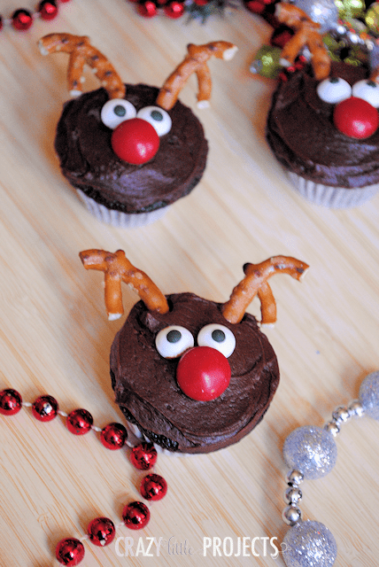 Close up of reindeer cupcakes on a table