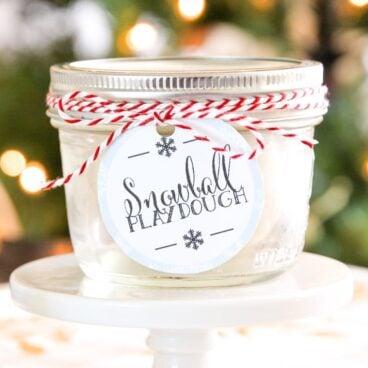 A jar of snowball playdough