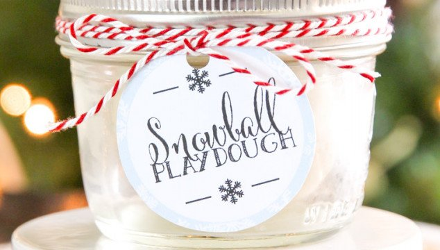 Snowball Playdough Recipe and Free Printable Gift Tag