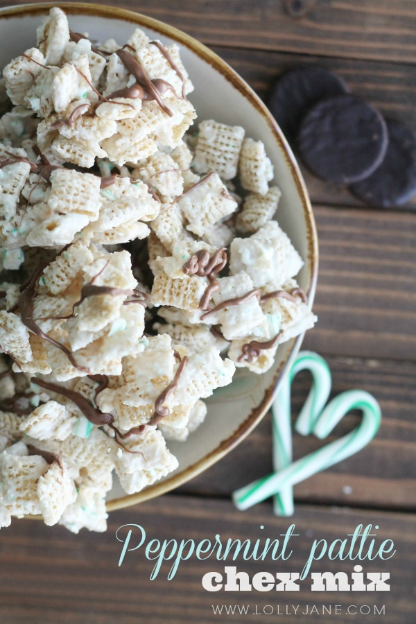 A bowl of peppermint patty chex mix