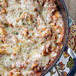 A close up of one pot lasagna