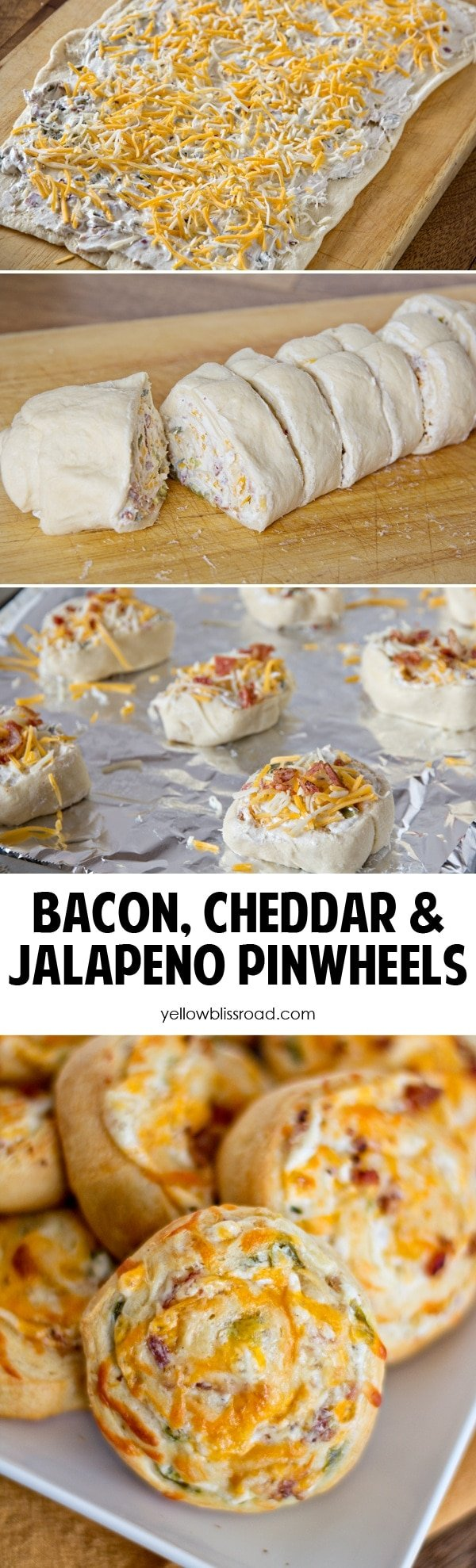 Bacon Cheddar Jalepeno Pinwheels collage
