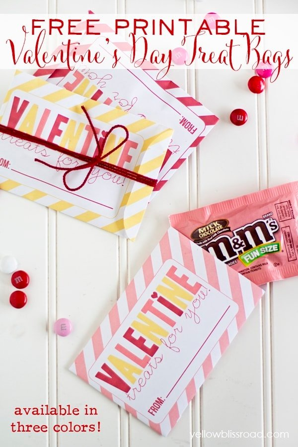 Free Printable Valentine Treat Bags in Three Colors