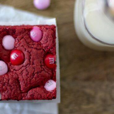 Close up of red velvet cake bars