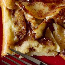 A close up of an oven pancake