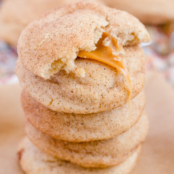 A stack of caramel stuffed cookies