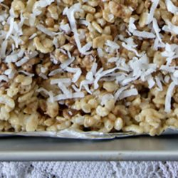 A close up of chocolate and coconut rice krispie treats