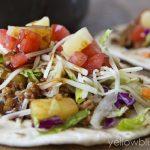 A close up of turkey tacos