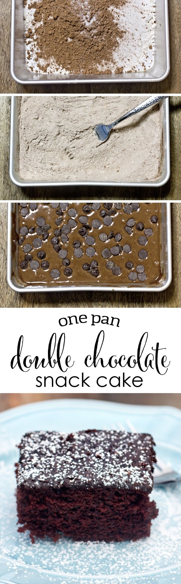 One Pan Double Chocolate Cake - So easy, it takes less then ten minutes to prepare!