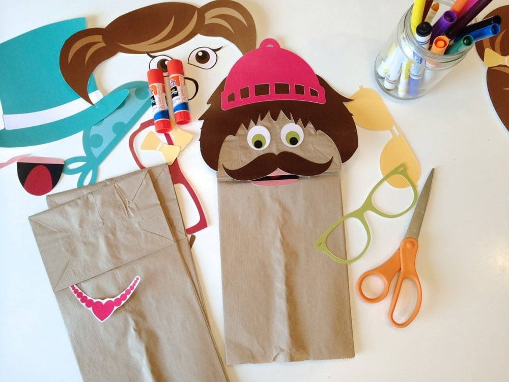 Crush image with printable paper bag puppets