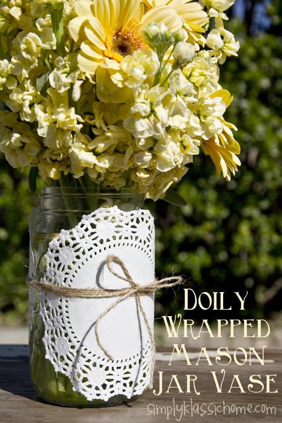 Social media image of Doily Wrapped Mason Jar Vase