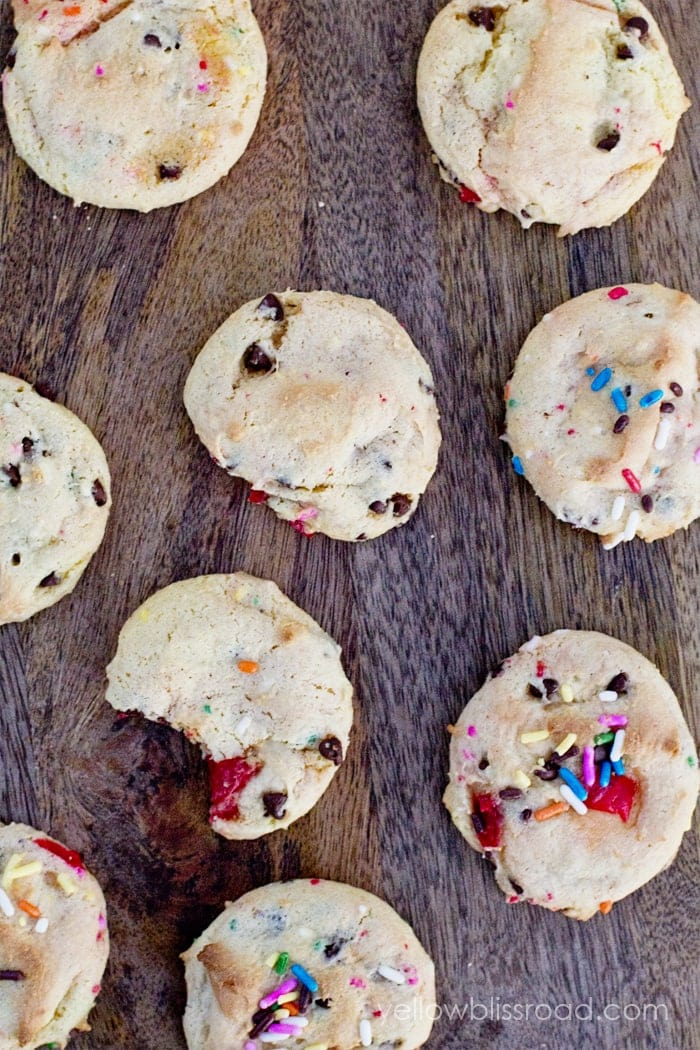Cake Mix Cookies with Cherries, Chocolate Chips and Sprinkles