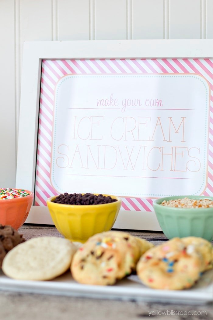 Make Your Own Ice Cream Sandwiches Free Printable Sign