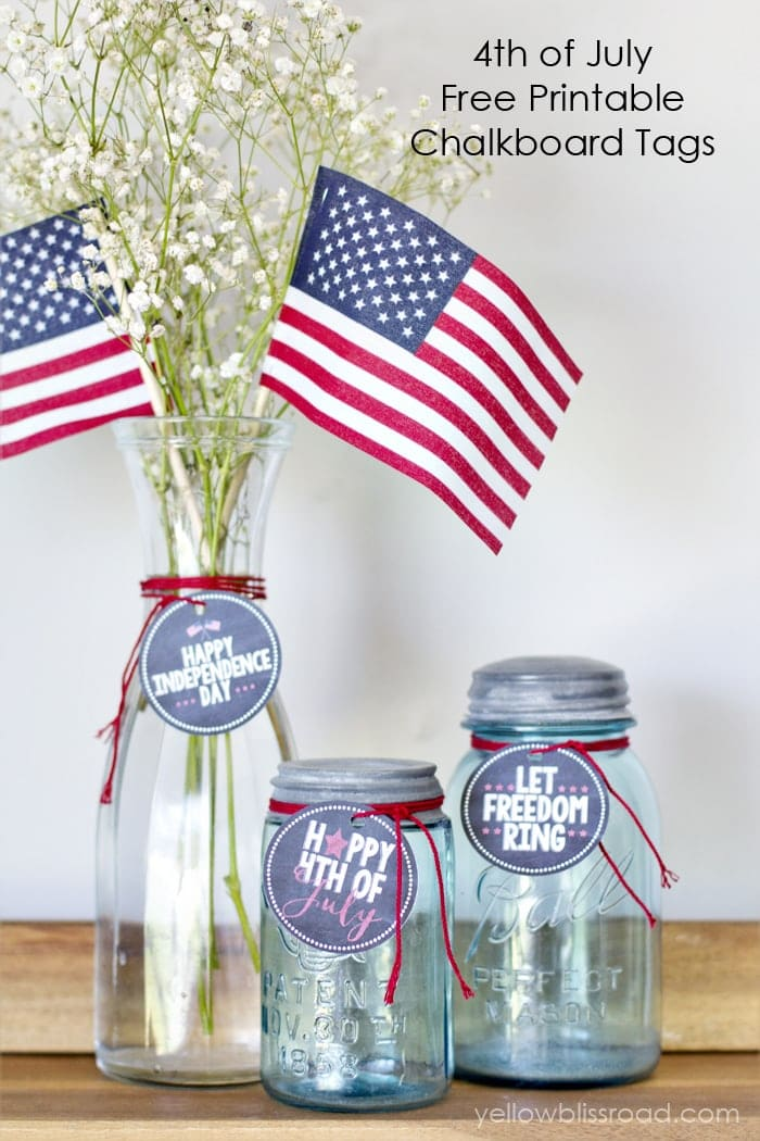 Free Printable 4th of July Chalkboard tags