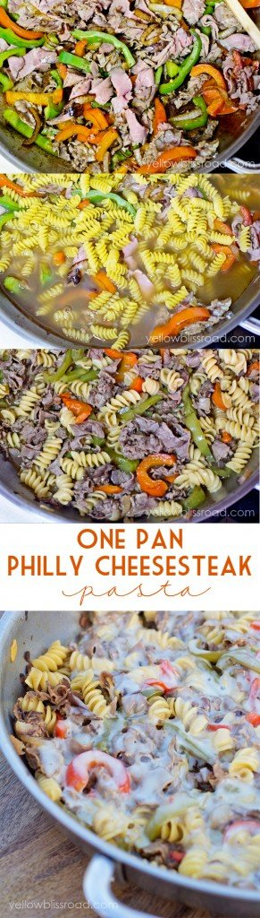 One Pan Philly Cheesesteak Pasta