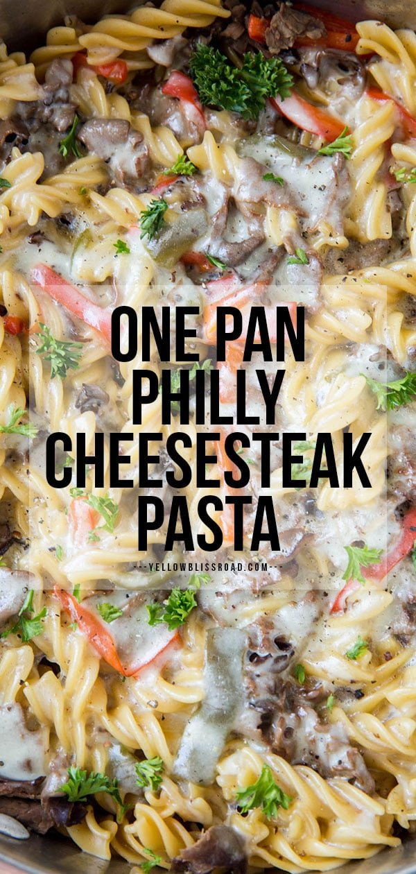 Philly cheesesteak pasta pinterest image