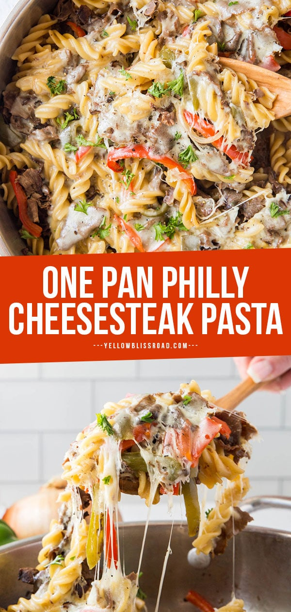 Philly Cheesesteak pasta for pinterest image