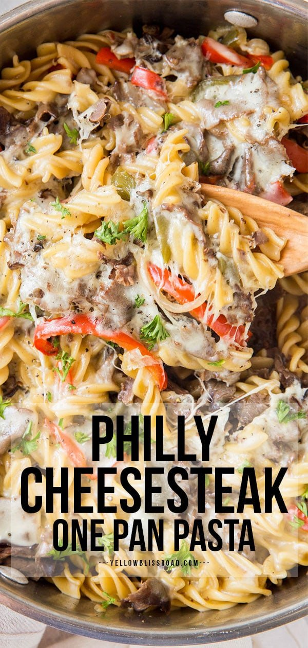Pinterest friendy image for philly cheesesteak pasta