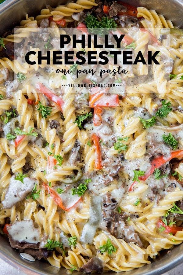 Philly Cheesesteak Pasta pinterest friendly image