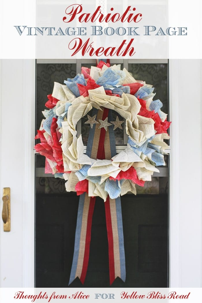 Patriotic Vintage Book Page Wreath