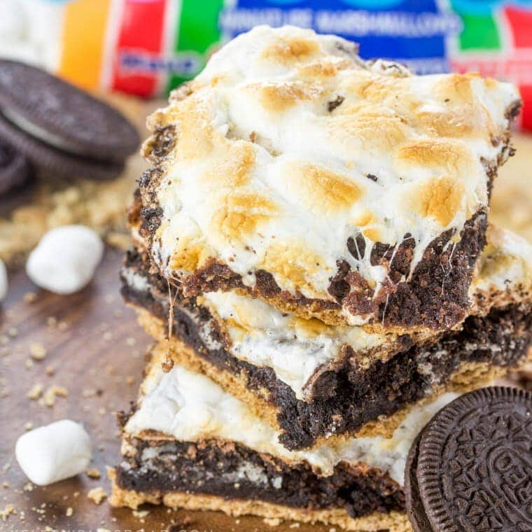 A stack of S'mores brownies