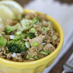 A bowl of Rice, broccoli, and chicken