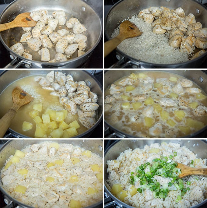 6 image collage of steps showing how to make one pot chicken and rice
