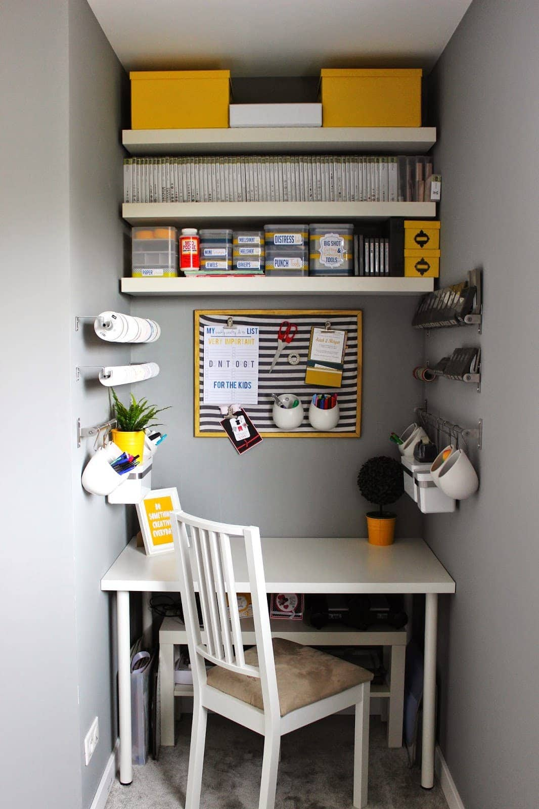 A small workspace decorated