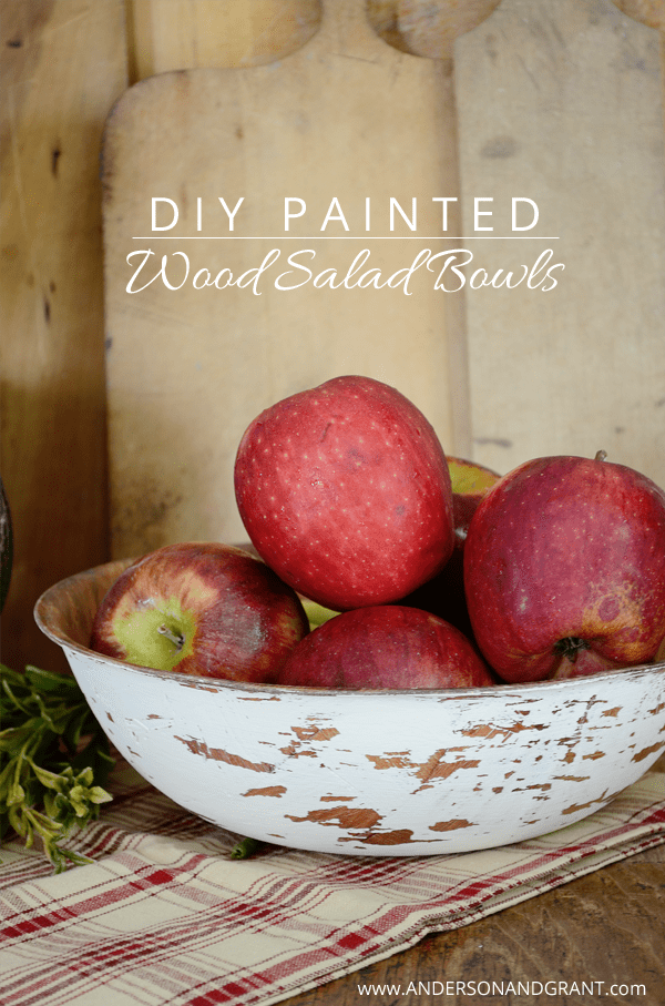 DIY Hand painted and distressed wood salad bowl from www.andersonandgrant.com