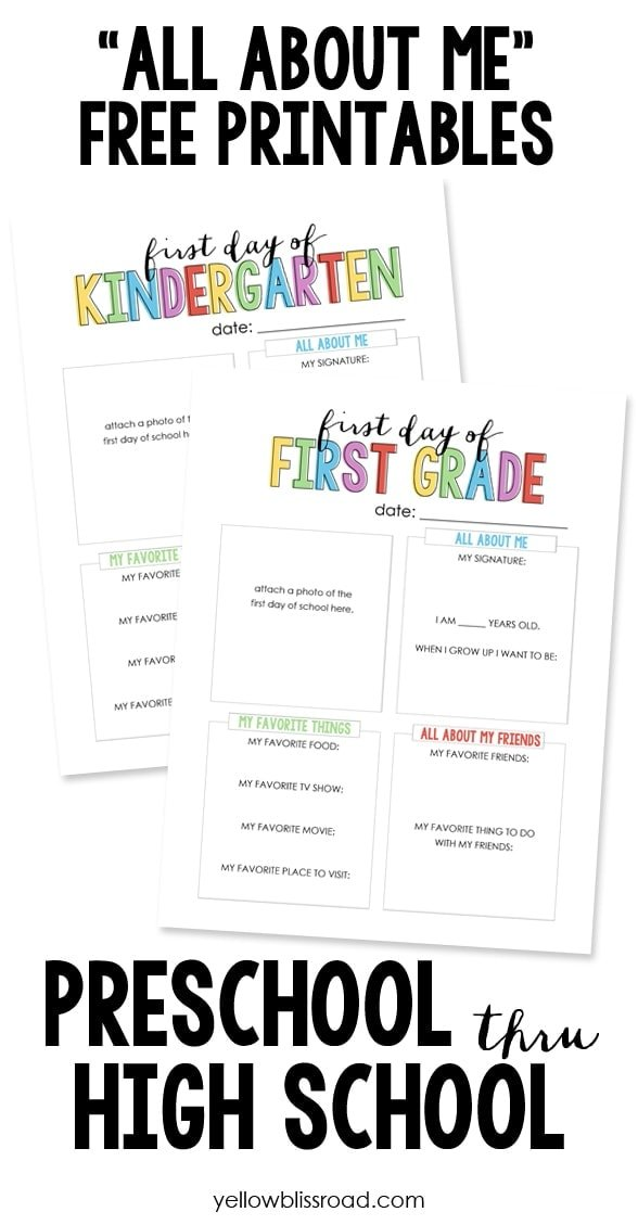 "Back to School ""All About Me"" Free Printables help you preserve your child's unique personality on the first day of school easy year."
