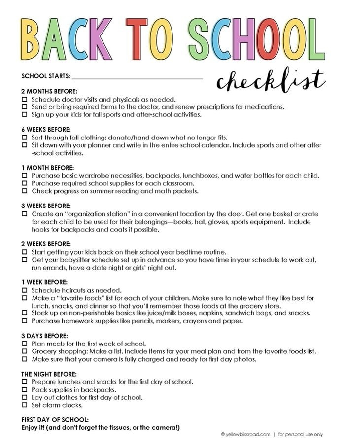 Free Printable Back To School Checklist  Yellow Bliss Road