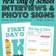 First Day of School Photo Signs and Interviews