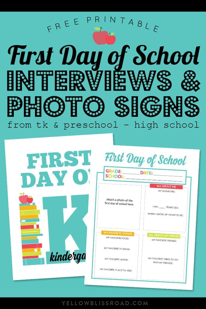 Be ready for those classic Back to School photos with these First Day of School Signs and All About Me Interviews! Includes preschool & TK thru High School.