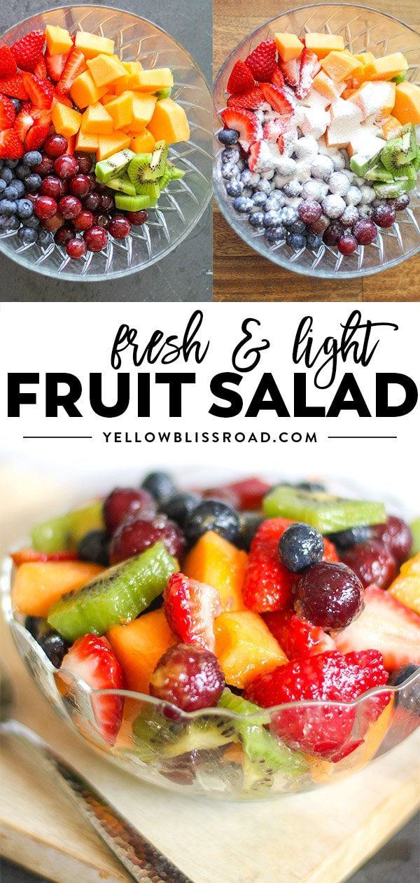 Fruit salad recipe with fruit salad dressing collage of images