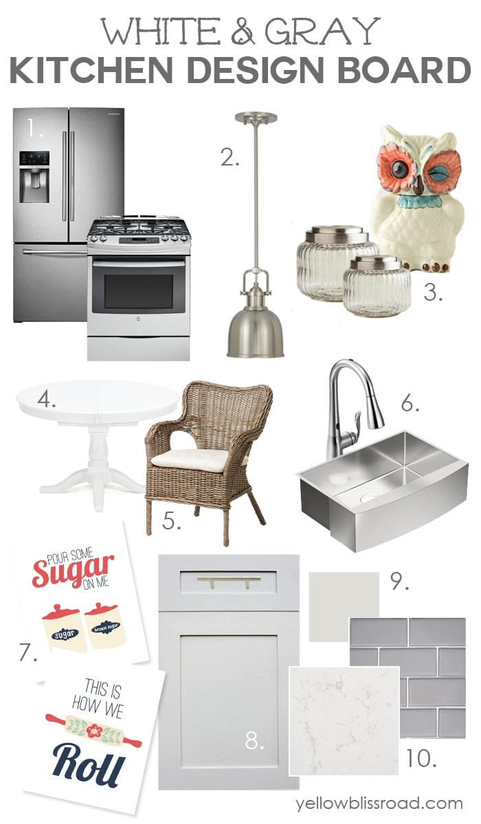 Free Kitchen Printable and a Gray and White Kitchen Design Board