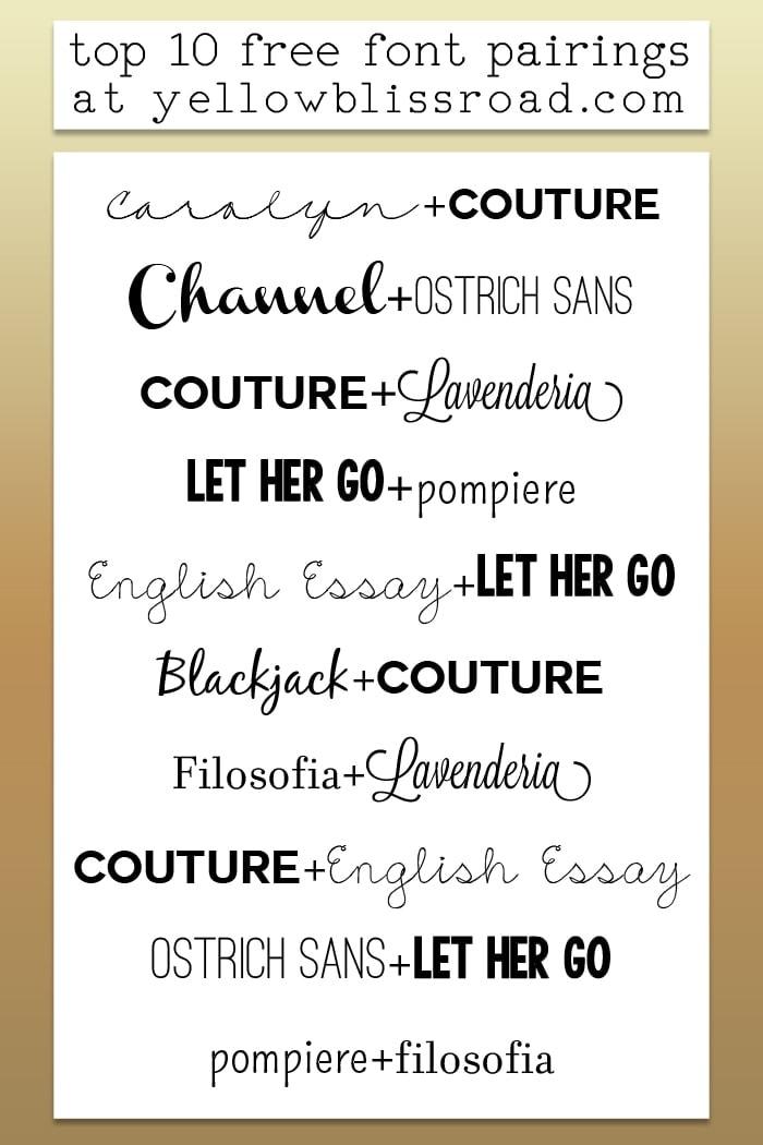 Top 10 Free Font Pairings