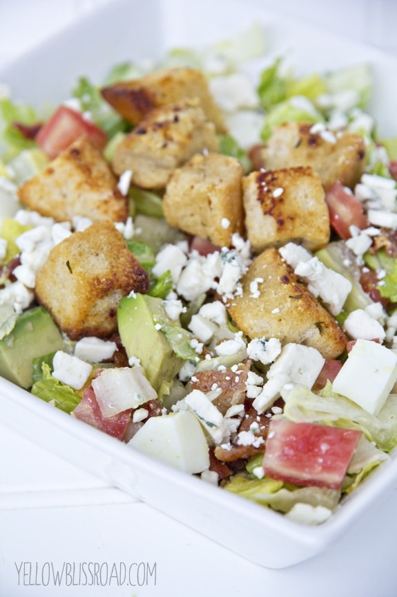 chopped cobb salad with garlic croutons