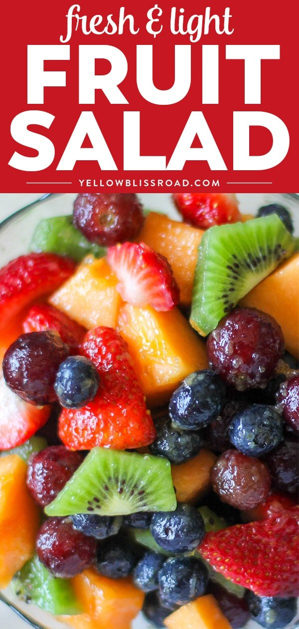 summer fruit salad recipe with fruit salad dressing title text