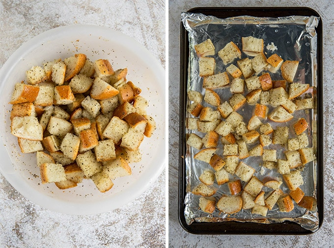 A plate of croutons next to a tray of croutons.