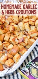 Homemade Garlic & Herb Croutons - Yellow Bliss Road
