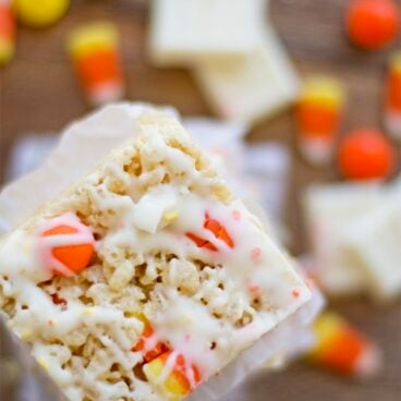 A close up of Candy Corn rice krispie treats