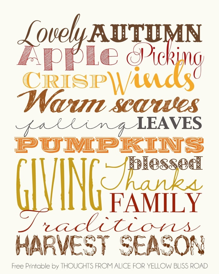 Lovely Autumn Free Fall Printable